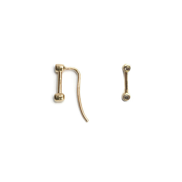 VLM Jewelry Cool 14k Yellow Gold Diamond Ear Pin Vanessa Arthur