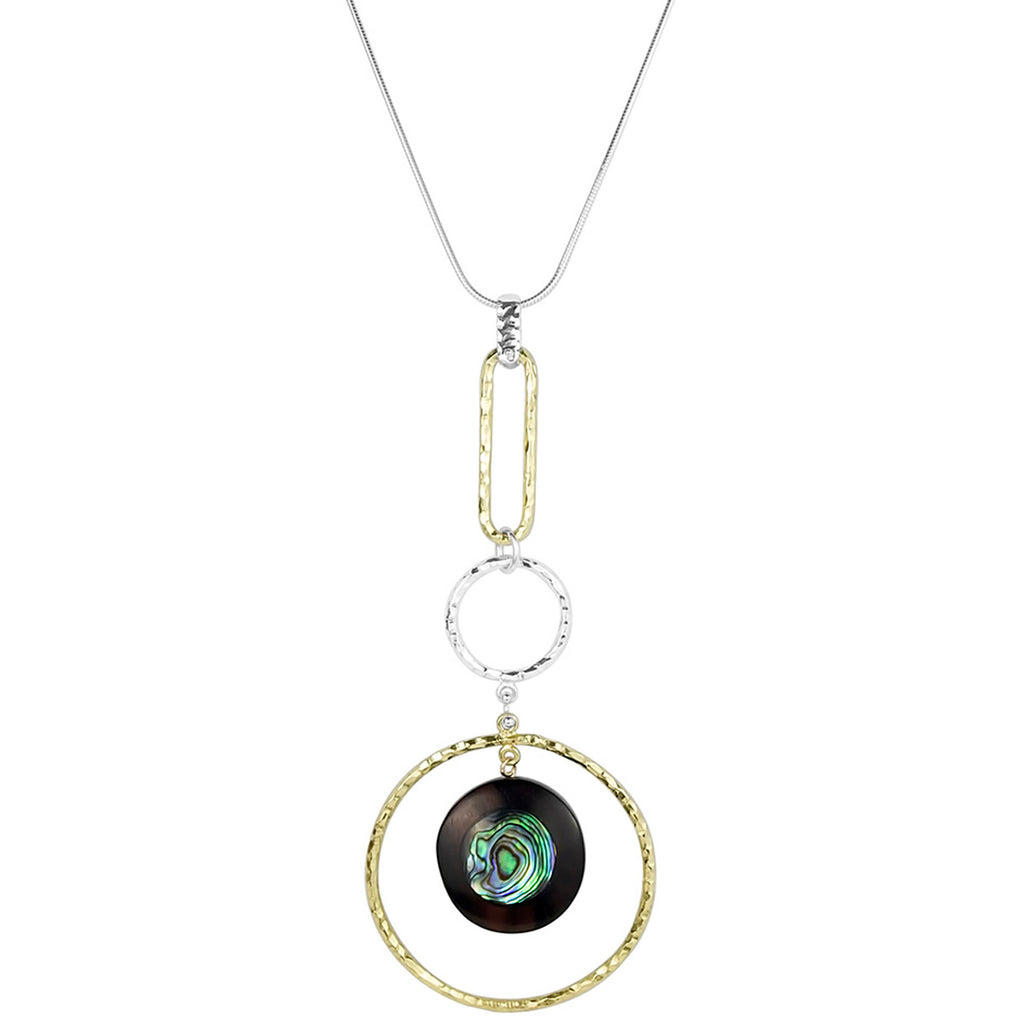vlmjewelry.com | Two Tone Goddess Necklace | Ebony Abalone Inlay | Handmade in Los Angeles