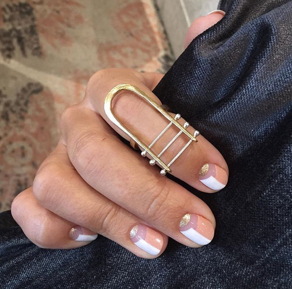 Los Angeles Jewelry Designer Handmade Brass Harp Ring
