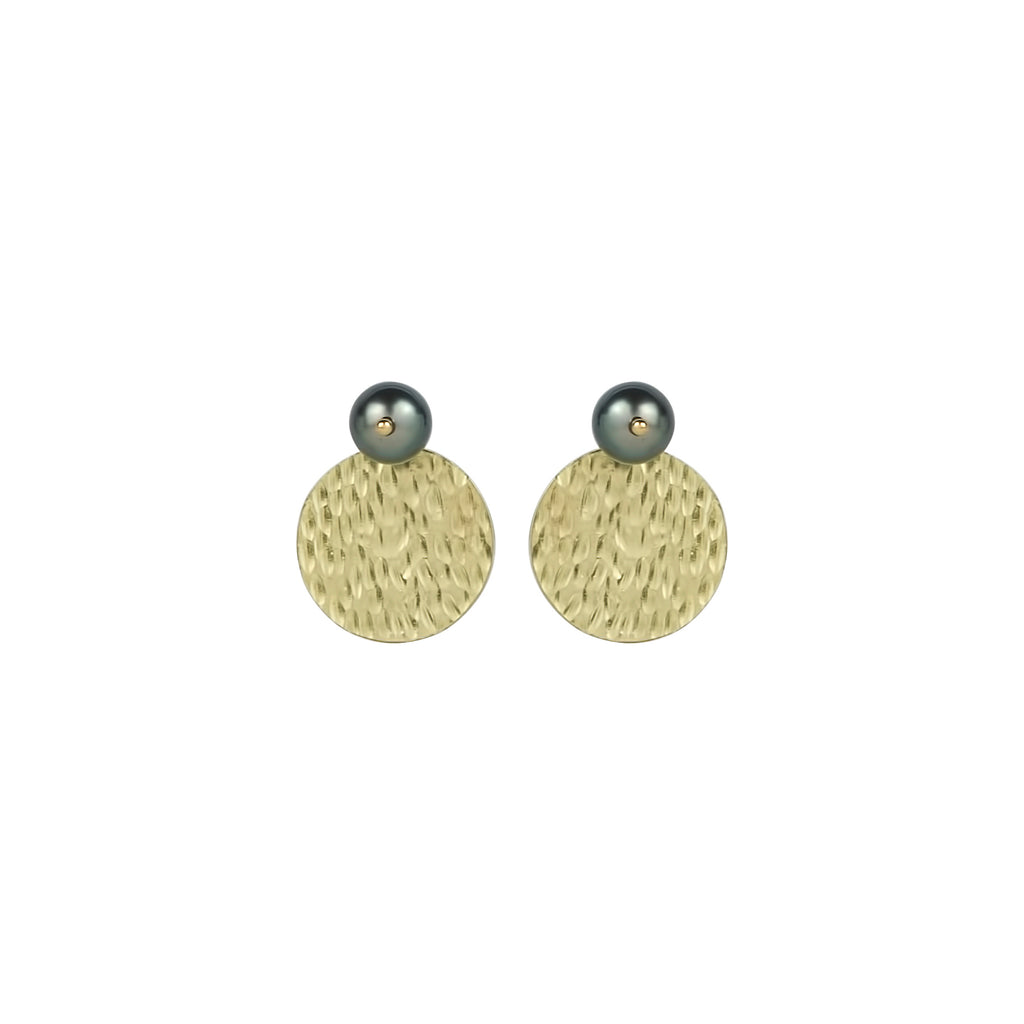 vlmjewelry.com | Gold Tahitian Pearl Hera Coin Earrings | Atmosphaera Collection | Handmade Jewelry