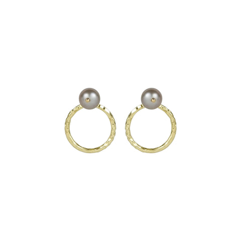 vlmjewelry.com | Gold Tahitian Pearl Origin Hoop Earrings | Atmosphaera Collection | Handmade Jewelry