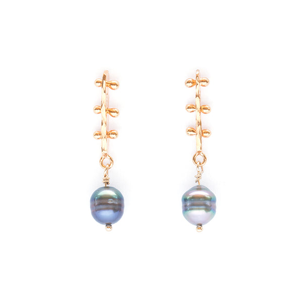 Los Angeles Modern Jewelry Designer Gold Vermeil Black Tahitian Pearl Earrings