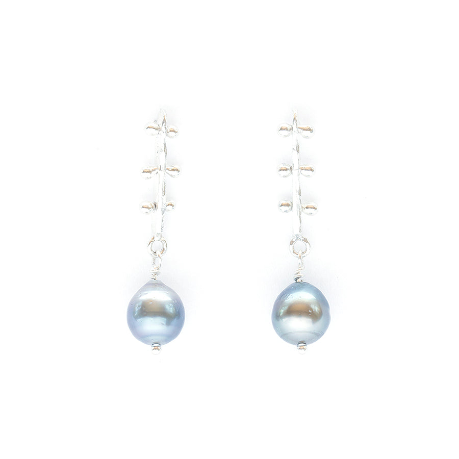 Los Angeles Modern Jewelry Designer Black Tahitian Pearl Earrings