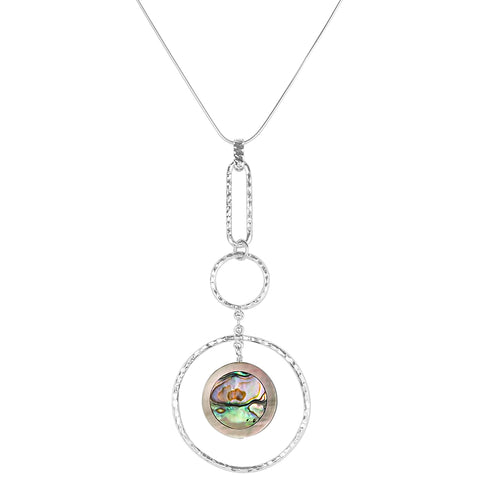vlmjewelry.com | Sterling Silver Goddess Necklace | Abalone Shell Inlay | Handmade in Los Angeles