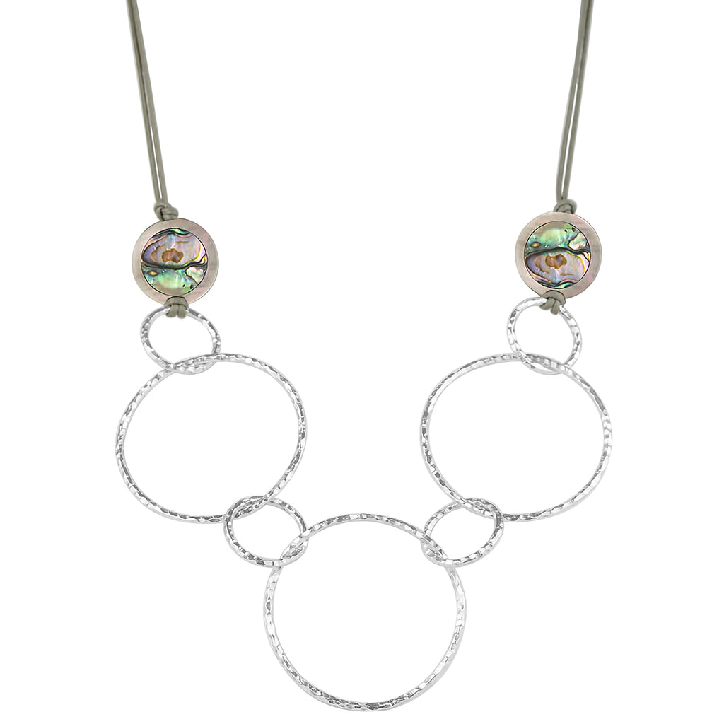 vlmjewelry.com | Sterling Silver Trinity Necklace | Mother of Pearl Abalone | Handmade in Los Angeles
