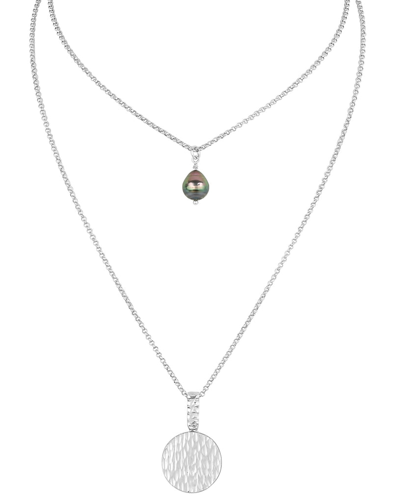 vlmjewelry.com | Sterling Silver Lorelei Gypsy Coin Necklace | Tahitian Pearl | Handmade in Los Angeles