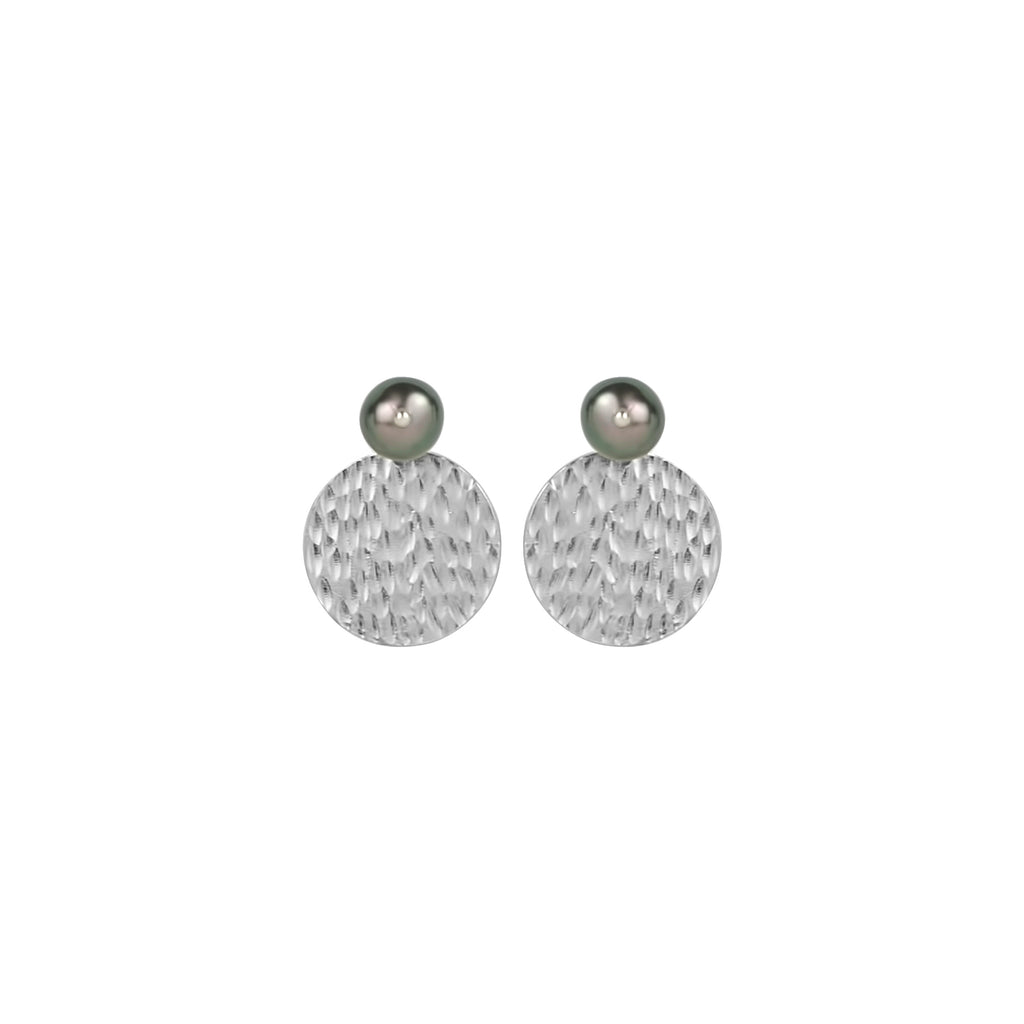 vlmjewelry.com | Silver Tahitian Pearl Hera Coin Earrings | Atmosphaera Collection | Handmade Jewelry
