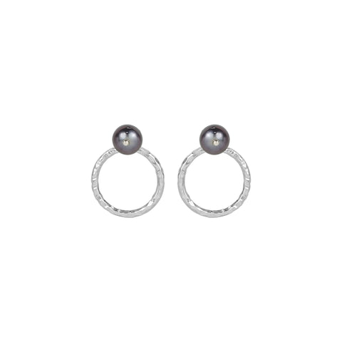 vlmjewelry.com | Silver Tahitian Pearl Origin Hoop Earrings | Atmosphaera Collection | Handmade Jewelry