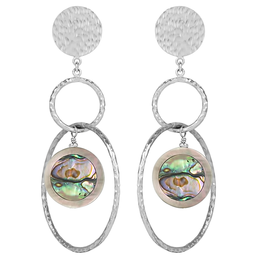 vlmjewelry.com | Silver Venus Abalone Hoop Earrings | Atmosphaera Collection | Handmade Jewelry
