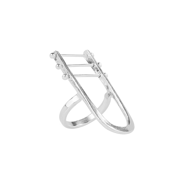 Los Angeles Jewelry Designer Handmade Sterling Silver Harp Ring