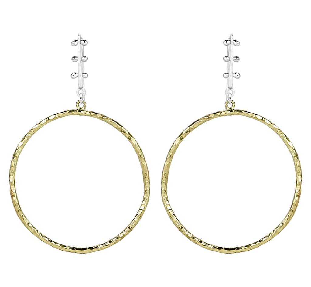 vlmjewelry.com | Two Tone Era Hoop Earrings | Atmosphaera Collection | Handmade Jewelry