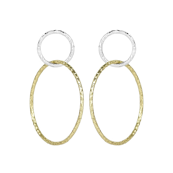 vlmjewelry.com | Two Tone Eternal Hoop Earrings | Atmosphaera Collection | Handmade Jewelry