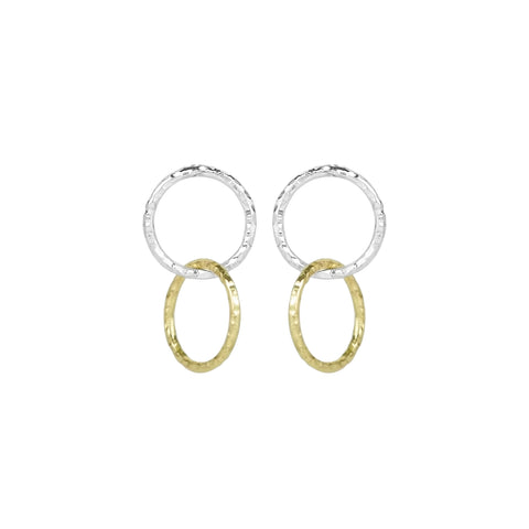 vlmjewelry.com | Two Tone Petite Eternal Hoop Earrings | Atmosphaera Collection | Handmade Jewelry