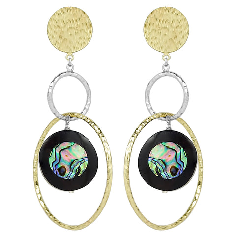 vlmjewelry.com | Two Tone Venus Abalone Ebony Hoop Earrings | Atmosphaera Collection | Handmade Jewelry
