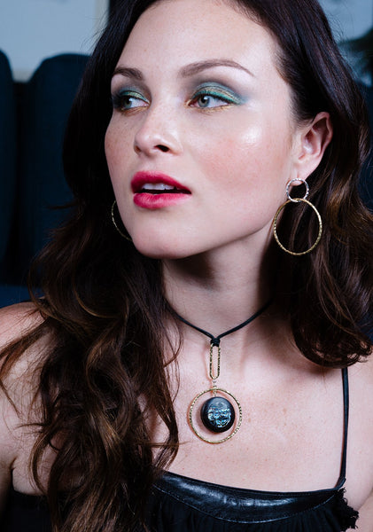 vlmjewelry.com | Sterling Silver Oculus Necklace | Ebony Abalone Inlay | Handmade in Los Angeles