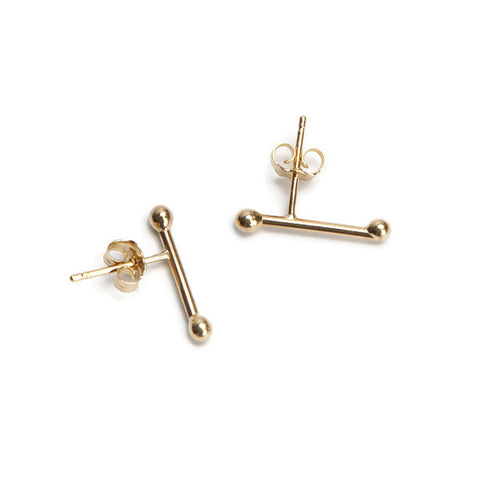 VLM Jewelry Cool 14k Yellow Gold Bar Accent Studs Earrings Vanessa Arthur