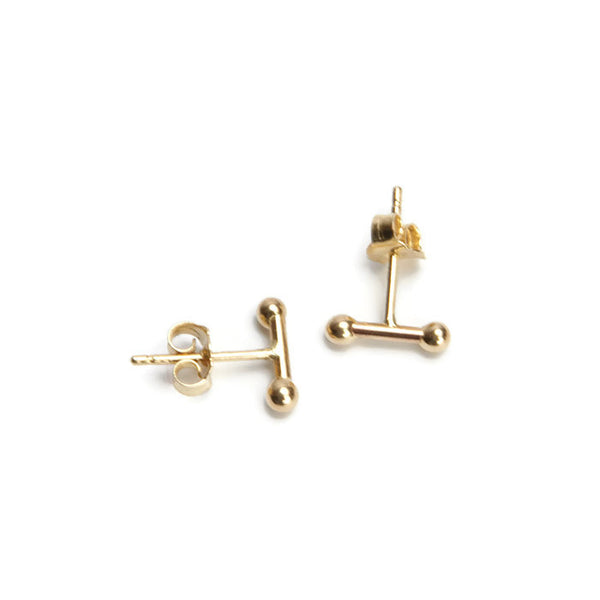 VLM Jewelry Cool 14K Yellow Gold Bar Studs Earrings Vanessa Arthur