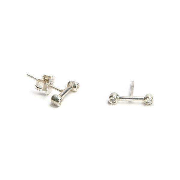 VLM Jewelry Cool Sterling Silver Diamond Bar Studs Earrings Vanessa Arthur