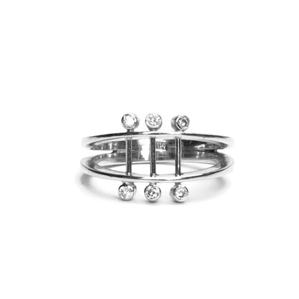 VLM Jewelry Cool White Diamond Sterling Silver Parallel Ring Vanessa Arthur