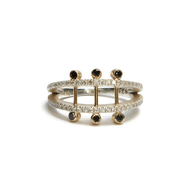 Los Angeles Jewelry Designer Black Diamond Pave Parallel Ring