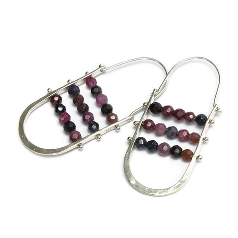 Handmade in Los Angeles Designer Jewelry STERLING SILVER ABACUS EARRINGS RUBY SAPPHIRE