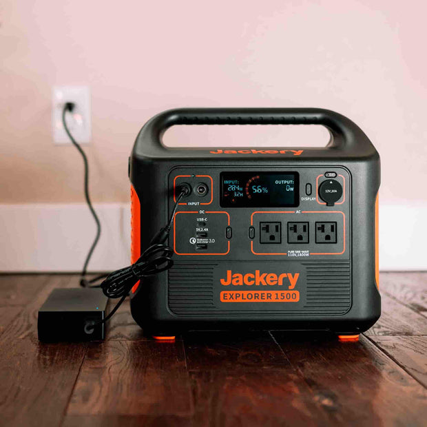 Jackery Portable Powerful Station Explorer 300 features with 3 USB ports and 2 AC outlets.