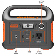Jackery Explorer 240 is equipped with 2 usb ports and a 200w AC outlet.