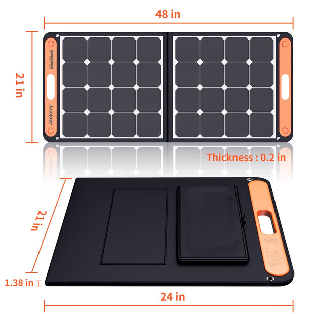 Jackery 100W foldable Solar Panel is 48*21in.