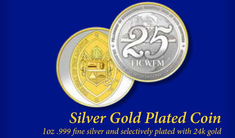 Silver Gold Plated 25th Anniversary Coin