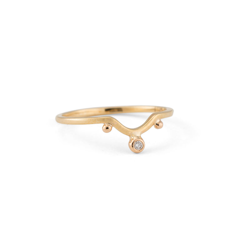 Arched Ring Jacket, Diamond, 9kt Yellow Gold