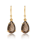 Smokey, Quartz, Claw, Set, Drop, Earring, Gold, Kerry, Rocks, Jewellery, Pear