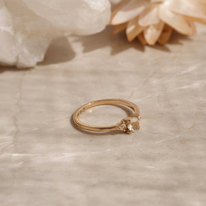 Florence Ring, White Topaz, 9kt Yellow Gold