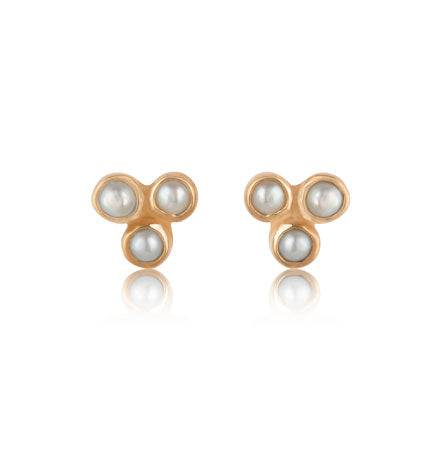 Clover Stud, Pearl, Gold