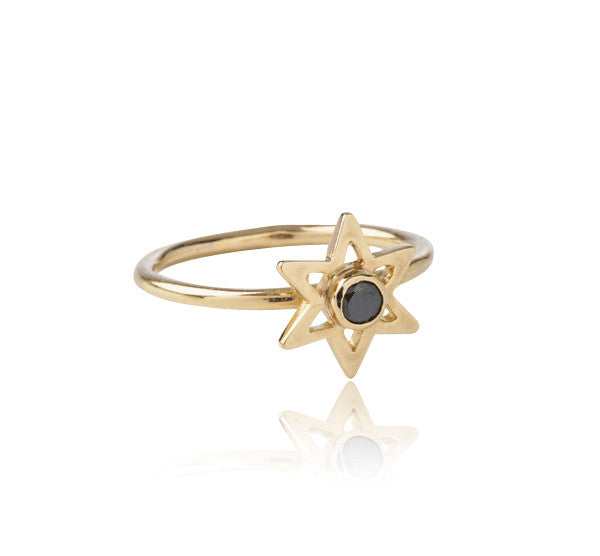 Star Ring,Black, Zircon, Gold, Kerry, Rocks, Jewellery