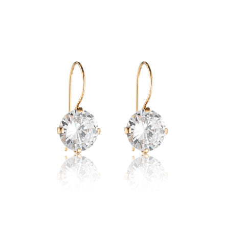 Tiffany Earring, C.Z, Gold