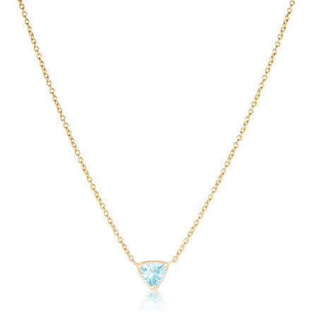 Trillion Necklace, Blue Topaz, Gold