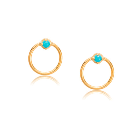 Door Knocker Studs, Turquoise, Gold