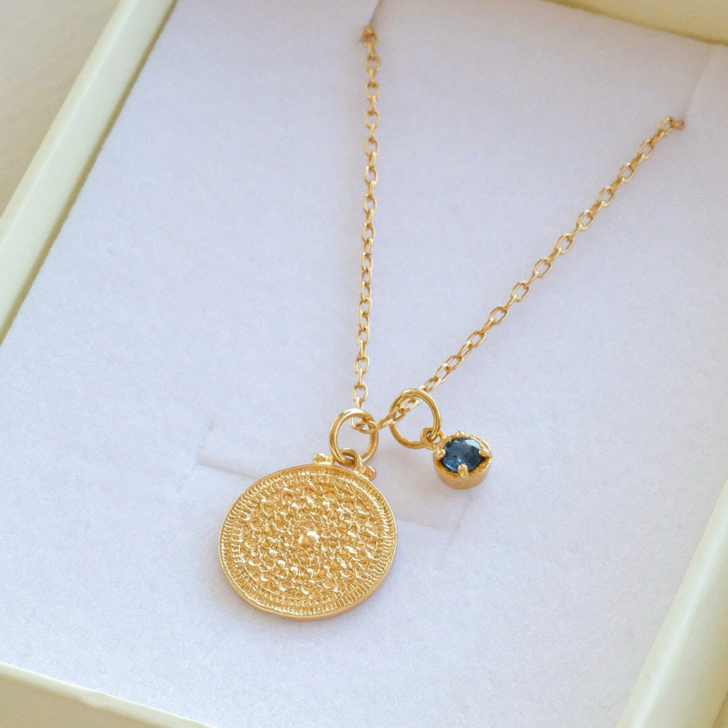 Medallion Necklace , Sapphire, Gold