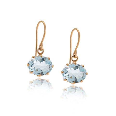 Marie Earring, Blue Topaz, Gold