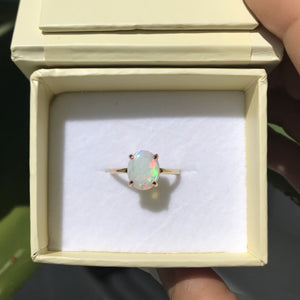 Ophelia White Opal Ring, 9kt Yellow Gold