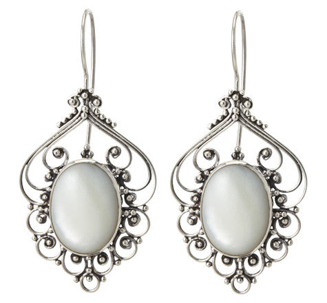 Mother Of Pearl Filligree Earring, Silver