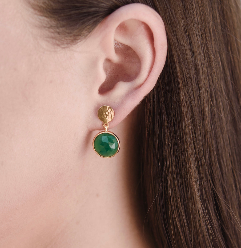 Sequin Stud, Green Onyx, Gold