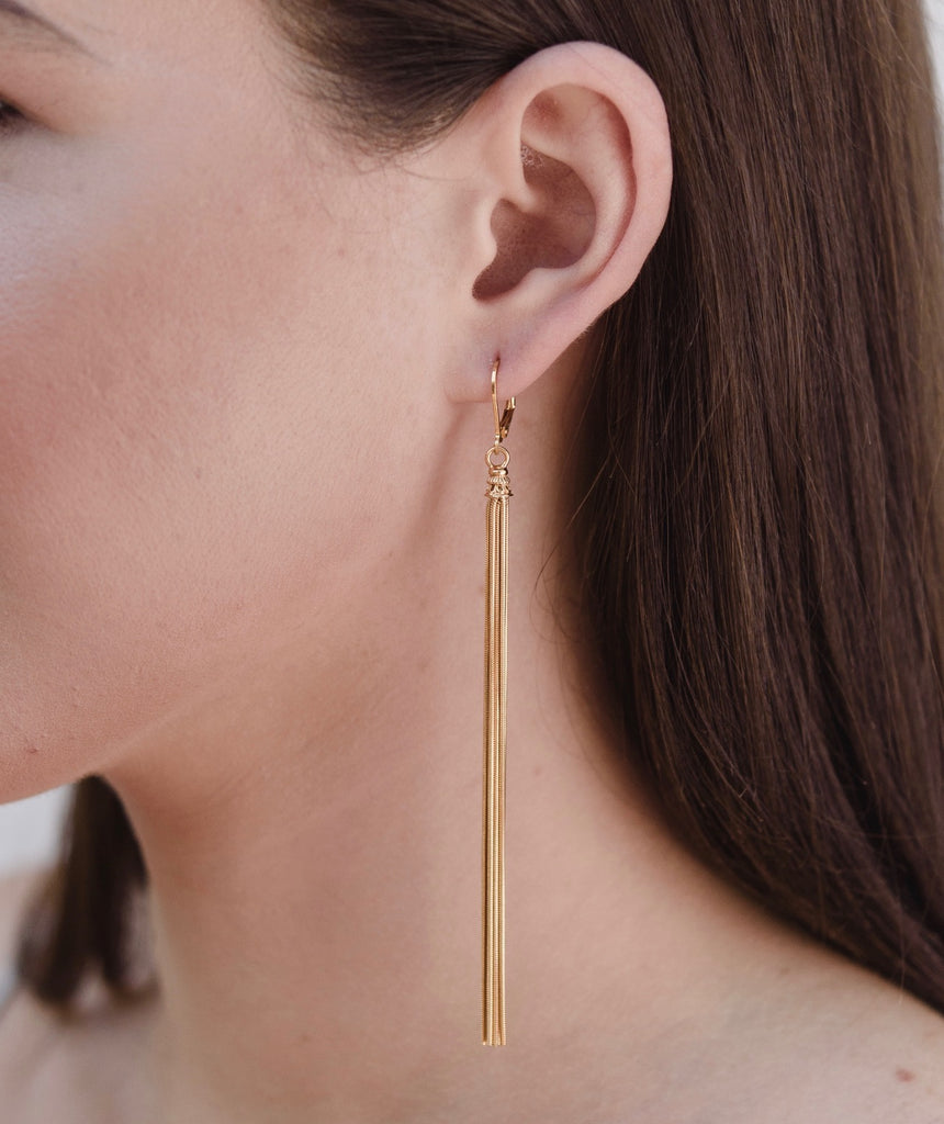 Tassel Long Earring, Gold