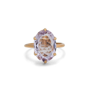 Amethyst Oval Ring, 9kt Yellow Gold