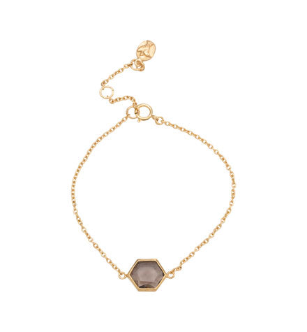 Hexagonal Bracelet, Smokey Quartz, Gold