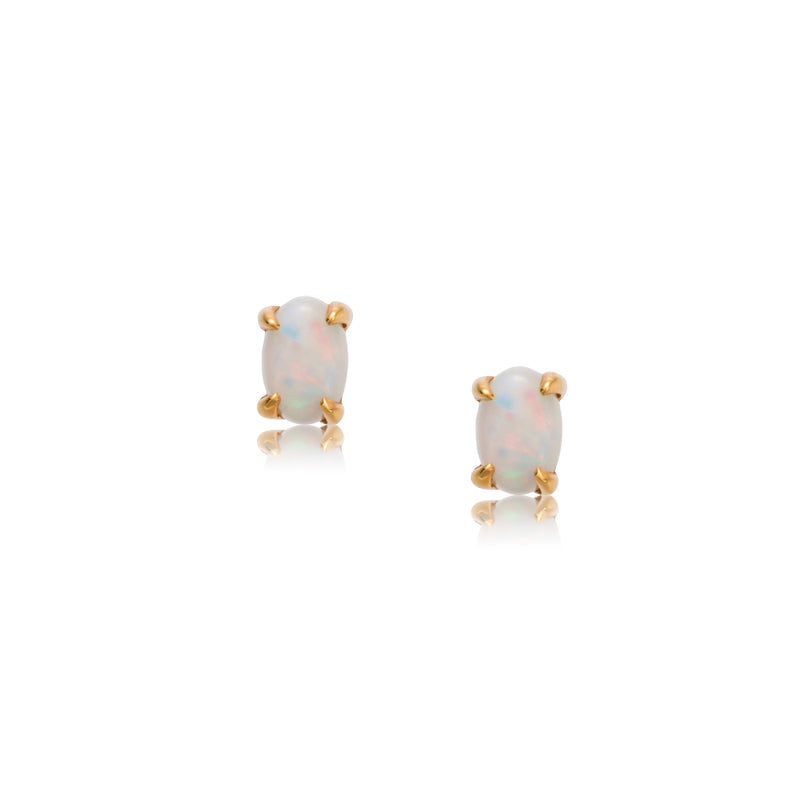 Oval White Opal Studs, 9kt Yellow Gold