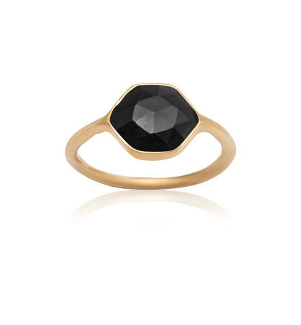Hexagonal Ring, Black Onyx, Gold