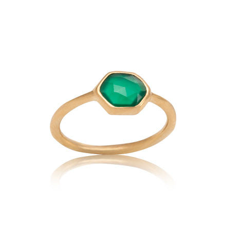 Hexagonal Ring, Green Onyx, Gold