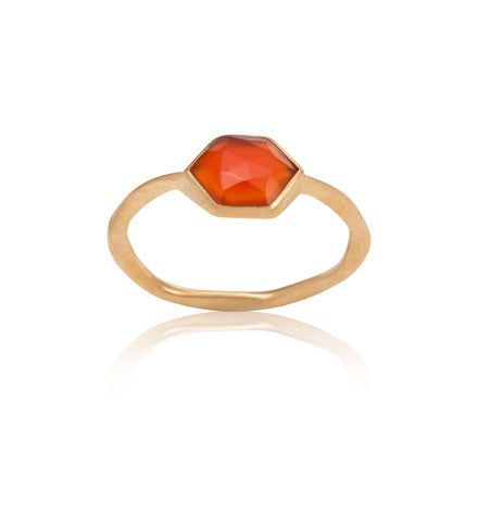 Hexagonal Ring, Red Onyx, Gold