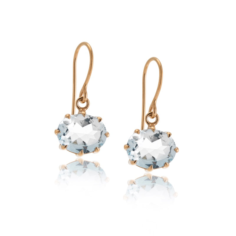 Marie Earring, Aquamarine, 9kt Yellow Gold